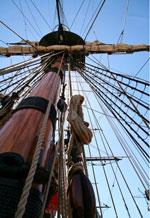 Cordage de chanvre utilisé sur un navire à voile