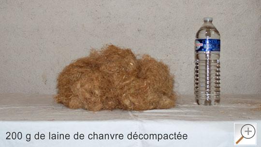 200 grammes de laine de chanvre décompactée