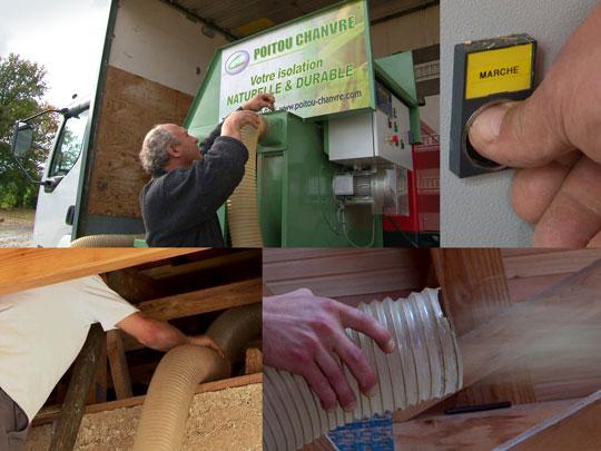 Etapes du soufflage de la laine de chanvre dans les combles